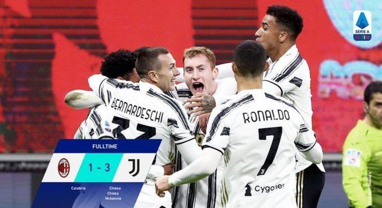 Juventus, a euforia pela vitória sobre o Milan, em Milão