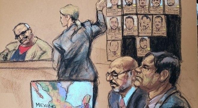 Depoimento de 'El Rey' Zambada (esq) no julgamento de El Chapo (dir)