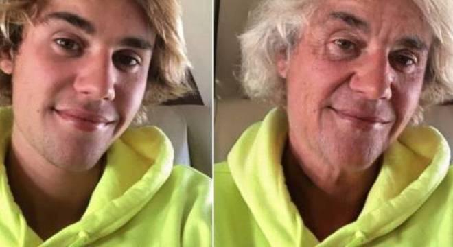O cantor Justin Bieber também teve seu rosto envelhecido através do aplicativo