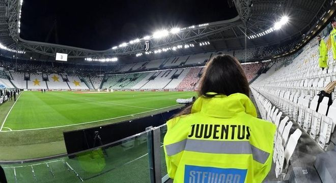 O Allianz Stadium da Juve, sem público