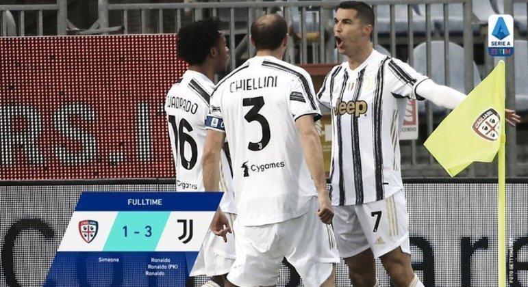 CR7, dos seus 23 tentos no cerftame, cinco contra o Cagliari