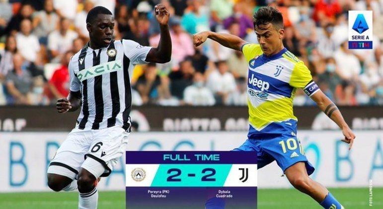 A Juventus, em Ùdine, o único insucesso dos sete favoritos na jornada inaugural