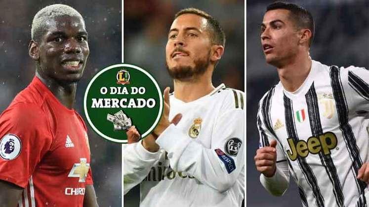 Juventus e Manchester United estuda trocar jogadores para a próxima temporada pensando em reforçar os dois elencos. Técnico que já trabalhou com Hazard quer contar com o belga em negócio considerado ousado. Tudo isso e muito mais no Dia do Mercado de quarta-feira.