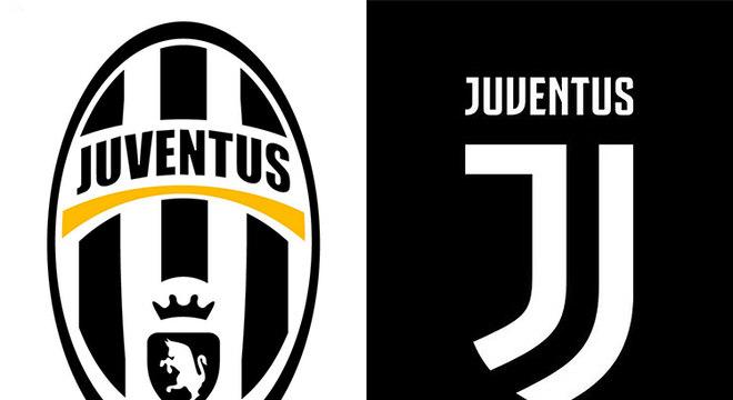 """Juventus - O novo escudo da Juventus é composto por duas grafias da letra """"J"""" que se complementam. Em cima delas, o nome Juventus aparece de forma simples. A mudança radical no escudo objetivou atingir novos públicos, segundo alegou a agremiação em 2017"""
