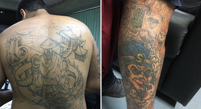 Tatuagens de Adriano Hilário dos Santos, conhecido como Kaique