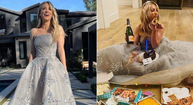 Antes e depois de Kaley Cuoco no Globo de Ouro divertiu internautas