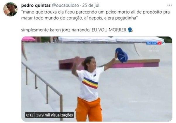 Karon Jonz foi contratada pelo SporTV para comentar o skate nos Jogos Olímpicos e acabou viralizando com seus comentários espontâneos e inusitados