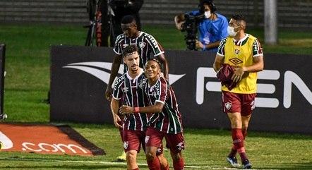 Kayky comemora seu primeiro gol pelo Fluminense