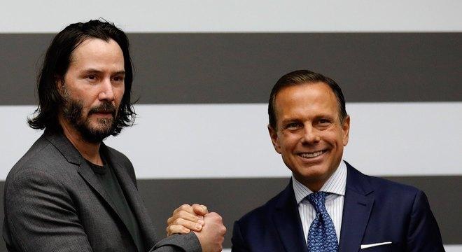 Ator americano se encontrou com o governador João Doria e com o prefeito Bruno Covas