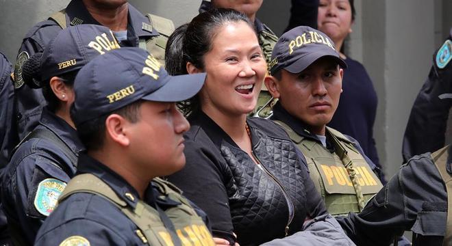 Keiko Fujimori no dia de sua prisão preventiva em novembro de 2018