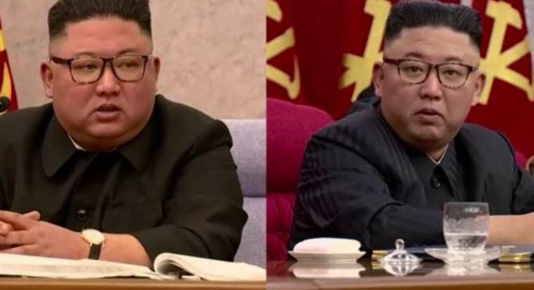 Imagens do líder norte-coreano em fevereiro e em junho