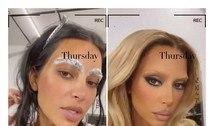 Kim Kardashian aparece loira e com sobrancelhas descoloridas