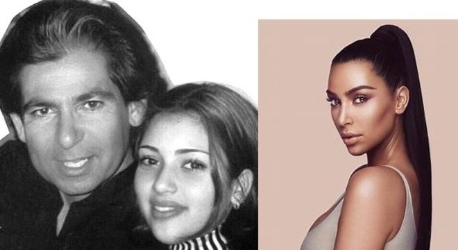 Kim ainda menina ao lado do pai, o advogado Robert Kardashian