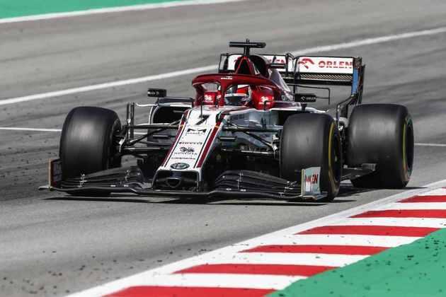 Kimi Räikkönen em ação no GP da Espanha de 2020