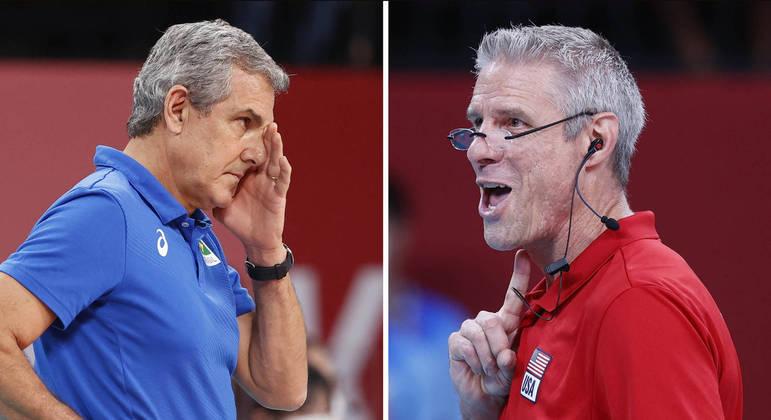 Karch Kiraly (à esquerda) fez os Estados Unidos não dar a menor chance ao Brasil de José Roberto Guimarães