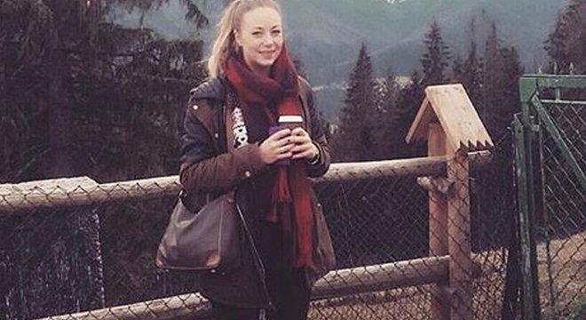 Klara Dollan quando estava grávida de oito meses; ela conta que nunca percebeu nenhum sinal da gravidez