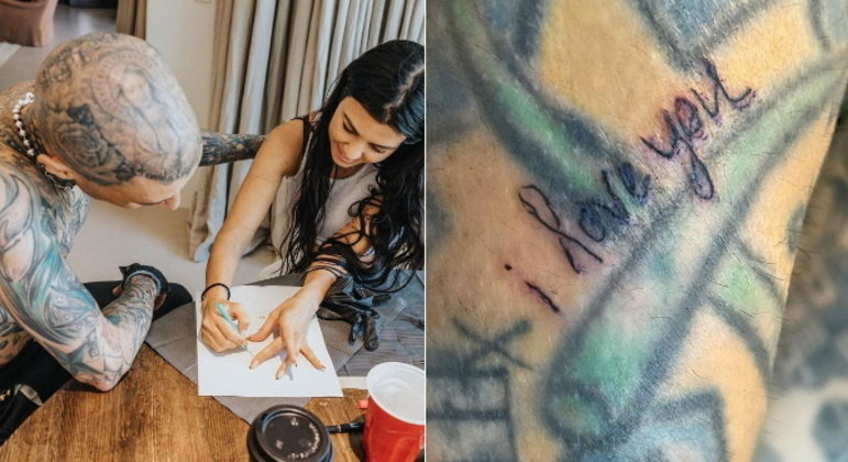 O músico elogiou a amada, dizendo que ela tinha muitos talentos. A tatuagem que Kourtney fez no namorado diz