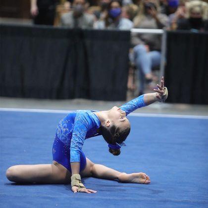 Mas é na ginástica olímpica que Kyara se encontrou e é onde mais brilha
