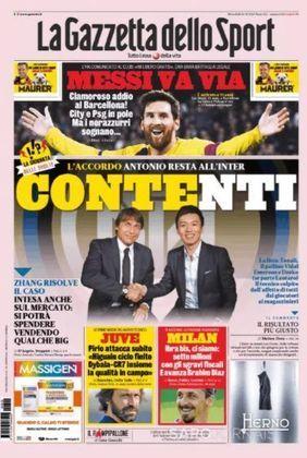 La Gazzetta dello Sport (Itália) – 'Messi vai embora'. Um retumbante adeus ao Barcelona, com City e PSG na 'pole' pelo jogador.
