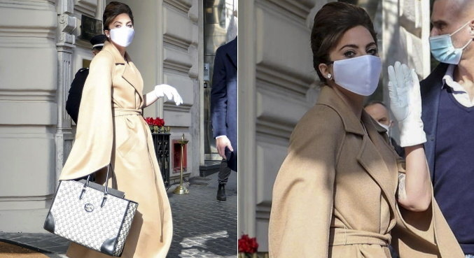 Com look fashion, Lady Gaga é flagrada saindo de seu hotel em Roma, na Itália