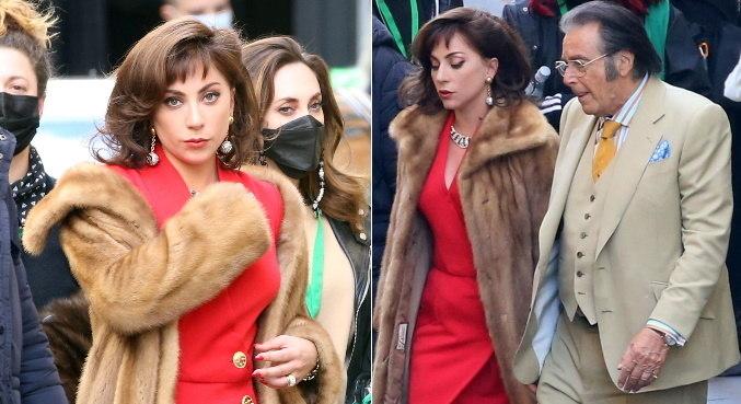 Cheios de glamour, Lady Gaga e Al Pacino gravaram cenas juntos em Roma