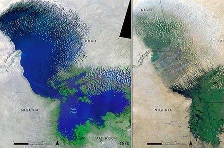 Mapa mostra a mudança no lago Chade entre 1972 e 2001