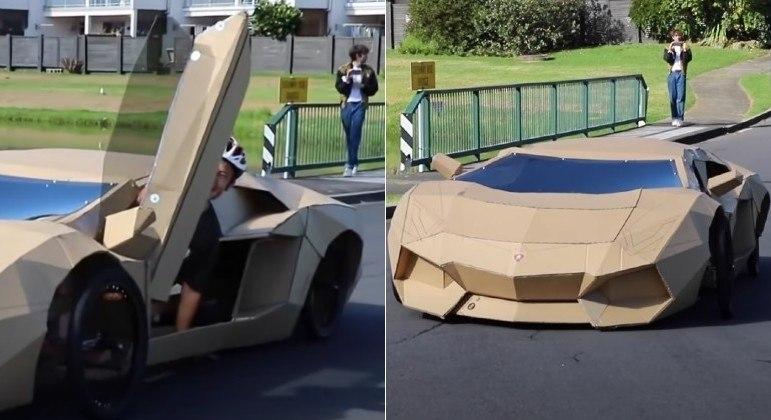 Lamborghini de papelão foi construída por youtuber e vendida por mais de R$ 55 mil