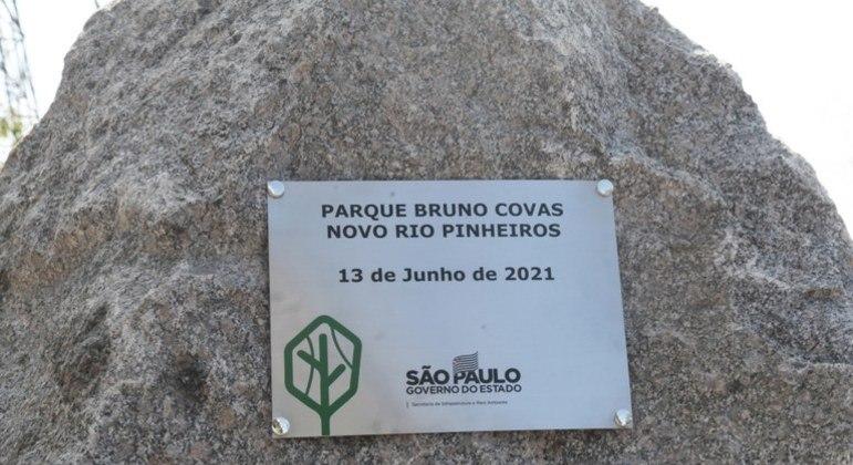 Lançamento da pedra fundamental marca inícios da obras do parque Bruno Covas