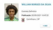Wilian é registrado no BID e está apto para estrear pelo Corinthians