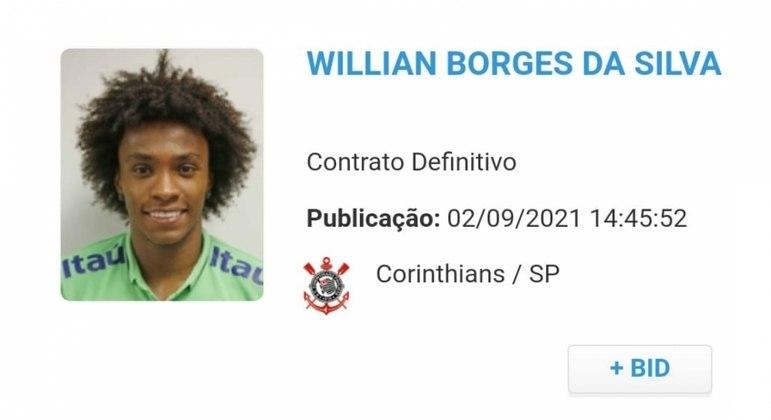 Willian é regularizado na CBF e está apto para reestreia no Corinthians