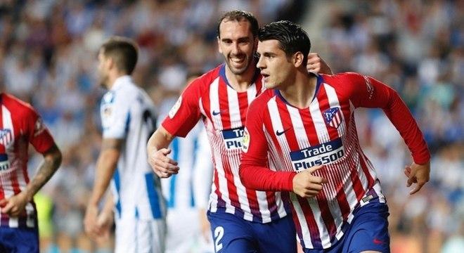 Álvaro Morata fez os dois gols da vitória do Atlético de Madri no Espanhol