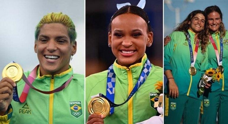 Ana Marcela, Rebeca Andrade, Martine Grael e Kahena Kunze ganharam medalha de ouro