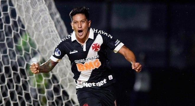 Cano comemora gol que deu a vitória ao Vasco na Sul-Americana