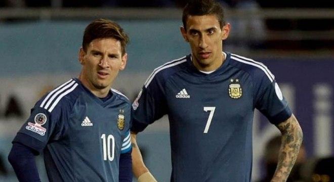 Di María e Messi juntos pela seleção argentina
