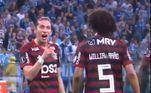 Filipe Luís e Willian Arão: o clima esquentou no Flamengo durante o empate por 1 a 1 com o Grêmio no primeiro jogo da semifinal da Libertadores 2019. Entre 15 e 20 minutos do segundo tempo, o lateral-esquerdo Filipe Luís e o volante Willian Arão trocaram farpas de maneira explícita e chegaram a se empurrar