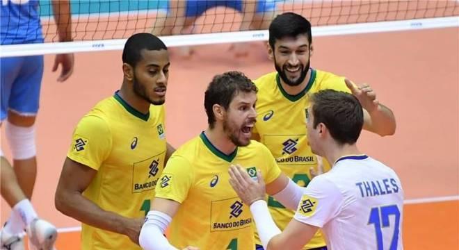 Comemoração brasileira diante da Argentina