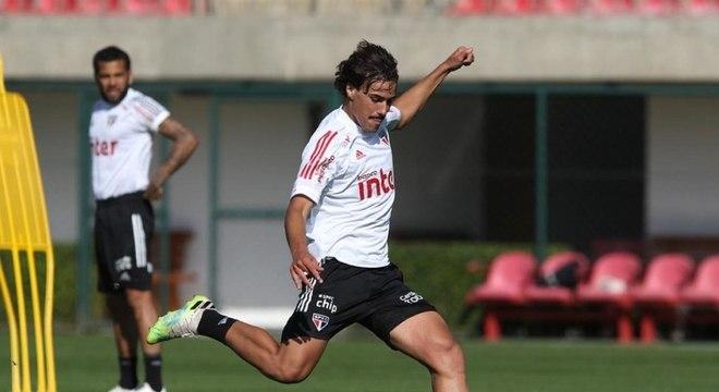Igor Gomes durante treino na última quinta, primeiro dia de retiro em Cotia