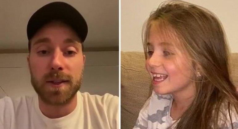 Eriksen passando a mensagem de força para a jovem de 9 anos