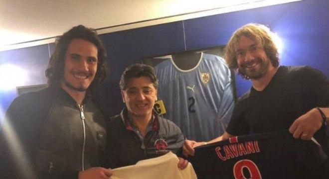 Cavani e Lugano são muito amigos desde que jogaram juntos na seleção