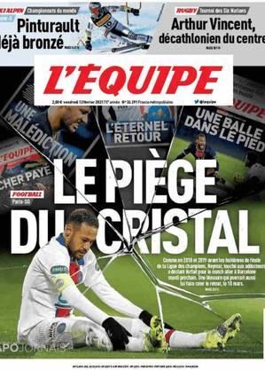 Capa do L'Equipe não poupa Neymar por nova lesão