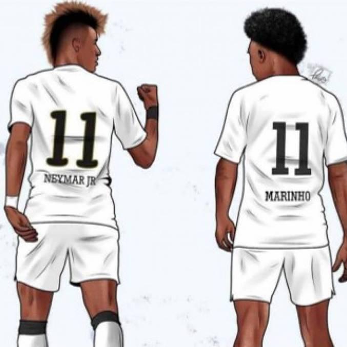 Desenho mostra Neymar e Marinho com a camisa 11 do Santos na Libertadores