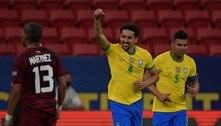 Zagueiro Marquinhos vibra com mais um gol marcado pelo Brasil