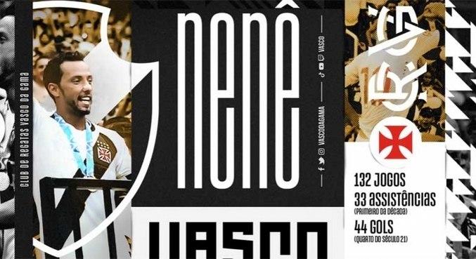 Nenê foi anunciado pelo Vasco nesta terça-feira (14)