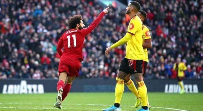 Salah fez os dois gols na vitória sobre o Watford