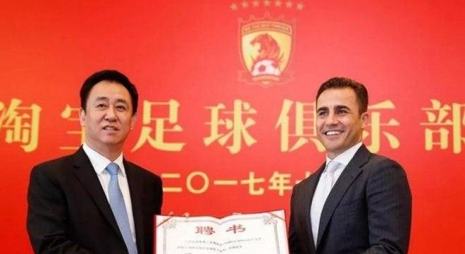 Campeão do mundo em 2006, Cannavaro comanda o Guangzhou Evergrande