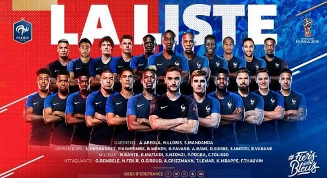 França divulgou a lista dos 23 convocados e confirmou os 11 suplentes