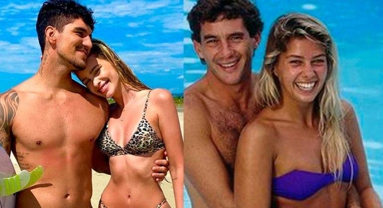 Senna foi namorado de Adriane Galisteu e Medina se casou com a modelo Yasmin Brunet