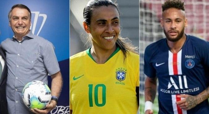 Bolsonaro criticou pergunta que trazia desigualdades salarias entre Marta e Neymar