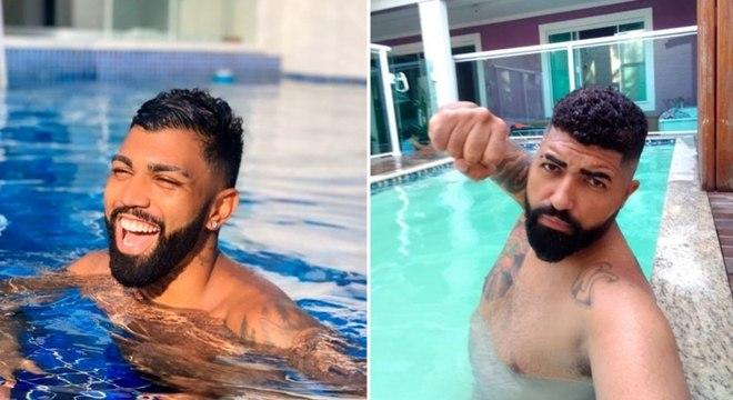 Gabigol nadou no Guarujá, e Gabigol da Torcida se refrescou no Rio de Janeiro