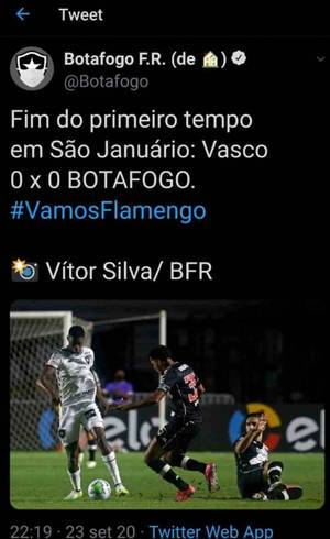 Twitter do Botafogo errou